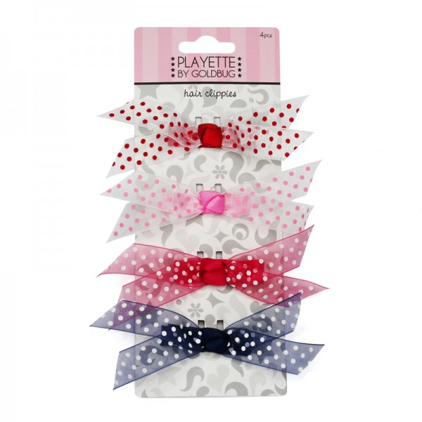 4pcs Dots Bow Clips Set