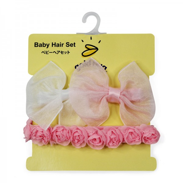 2 Bow Clips & 1 Roseet Headband Set